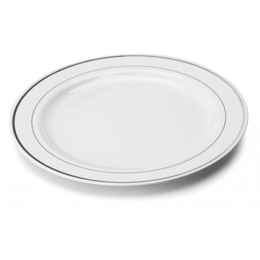 "White Silver Rim 10"" Mozaik Strong Reusable Hard Plastic Dinner Plates 26cm"
