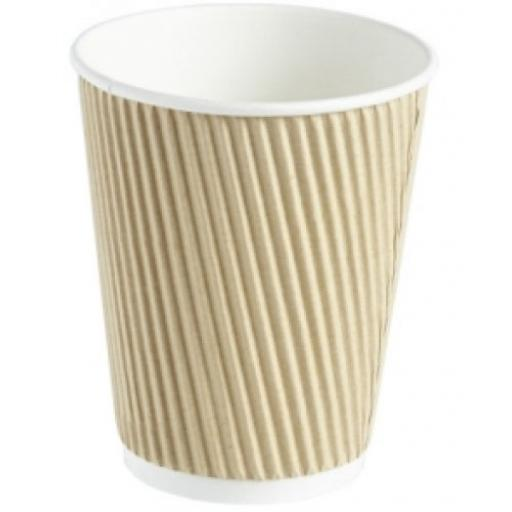 12oz Brown Paper Coffee Cups Kraft Ripple 3 Ply Insulated For Tea Espresso Hot Drinks