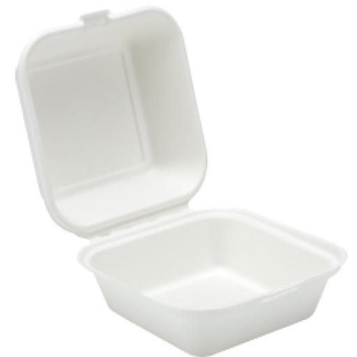 "White 6"" Paper Burger Box Containers - Biodegradable Bagasse Sugarcane"