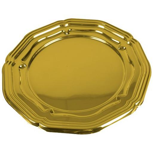"Sabert Gold Plastic Round Large Platters Serving Trays 46cm / 18"" - 5 Pack"