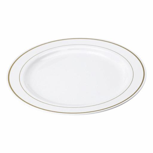 "White Gold Rim 9"" Mozaik Strong Reusable Hard Plastic Dinner Plates 23cm"