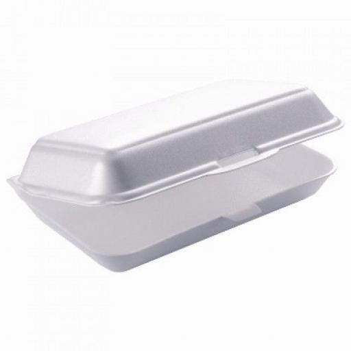 "FP10 White 9"" Burger Box Foam Polystyrene Containers"