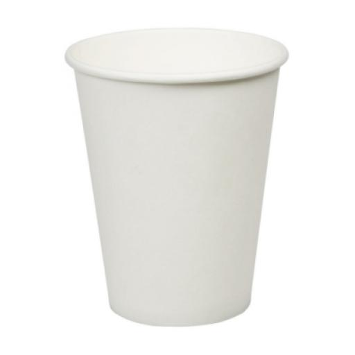 12oz White Paper Cups Single Wall Disposable Tea Coffee Cappuccino Espresso Hot Drinks