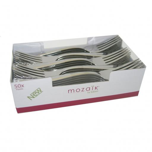 Sabert Mozaik 19cm Plastic Silver Forks Metallised Reusable Disposable Cutlery