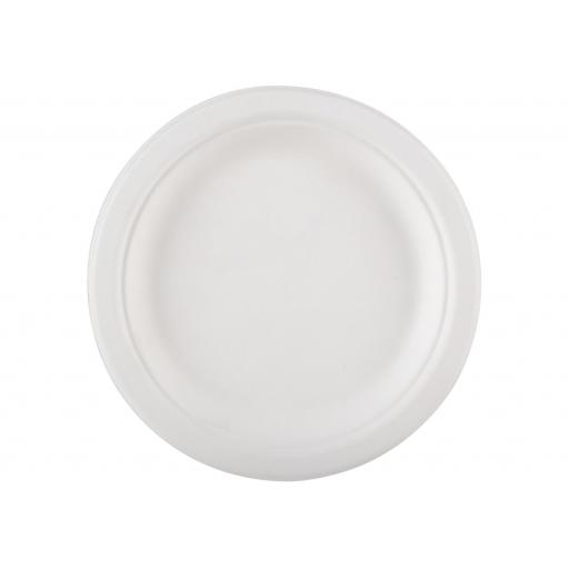 "Round 7"" Strong White Paper Plates Biodegradable Bagasse Disposable Starter Snack - 180cm"