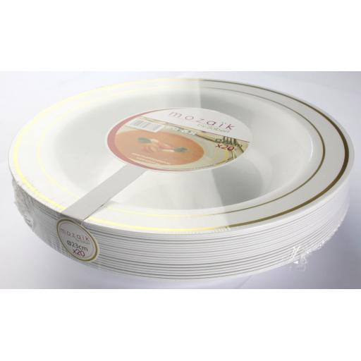 "Mozaik Deep Plastic Bowls White With Gold Rim 9"" 23cm For Pasta Soup"