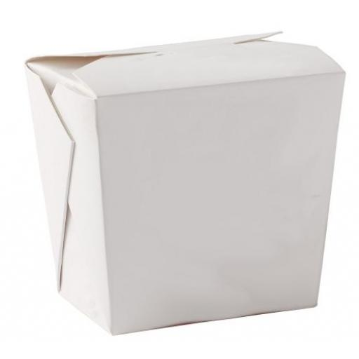 White 32oz Square Paper Oriental Noodle Pots Containers - Rice Curry Takeaway Food Pails Boxes