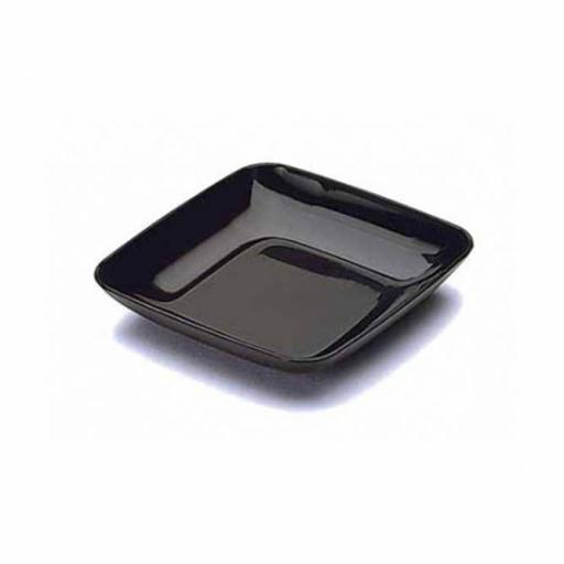 "MINI 2.5"" Black Mozaik 6.5cm Tasting Appetiser Plates - Strong Reusable Hard Plastic"