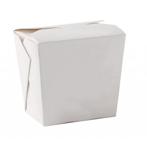 White 26oz Square Paper Oriental Noodle Pots Containers - Rice Curry Takeaway Food Pails Boxes