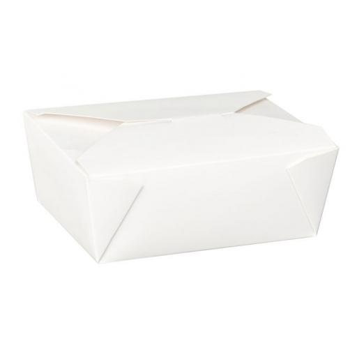 No8 White 46oz Square Paper Food Containers - Hot Rice Curry Takeaway Boxes
