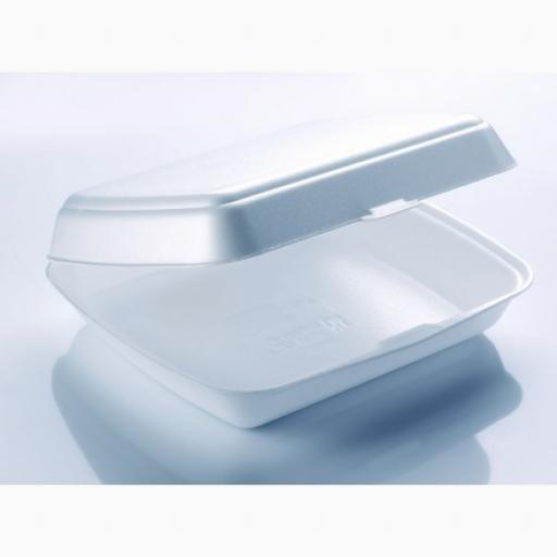 "FP1 White 10"" Meal Box 1 Section Foam Polystyrene Containers HP4"