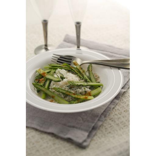 "Mozaik Deep Plastic Bowls White With Silver Rim 9"" 23cm Plates For Pasta Soup"
