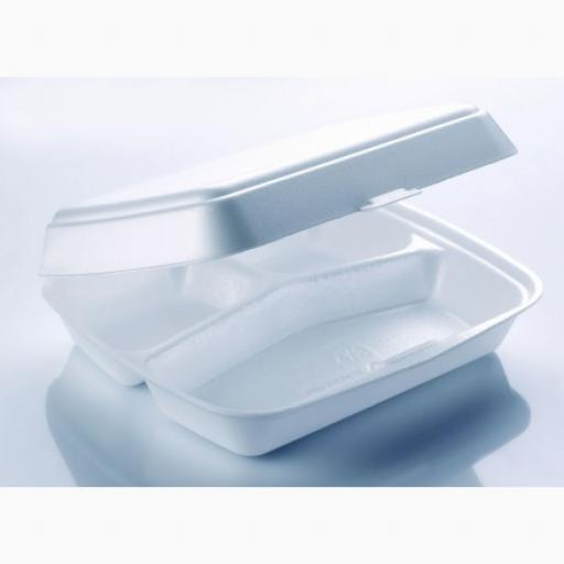 "FP3 White 10"" Meal Box 3 Compartment Section Foam Polystyrene Containers HP4/3"