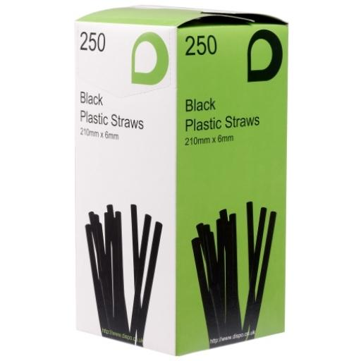 "Black 8"" Long Jumbo Flexi Bendy Drinking Straws 210mm x 6mm"