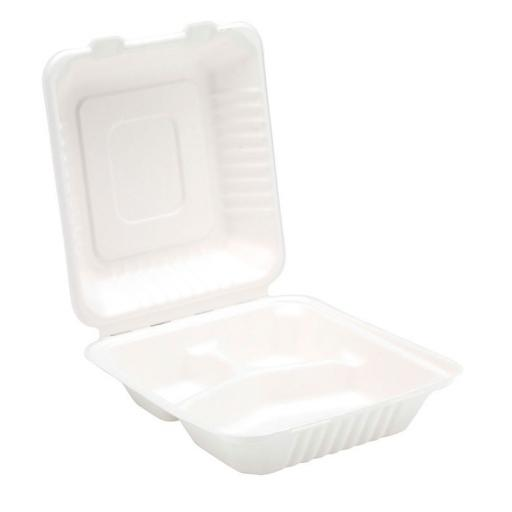 "White 8"" Paper 3 Compartment Section Meal Box Containers - Biodegradable Bagasse Sugarcane"
