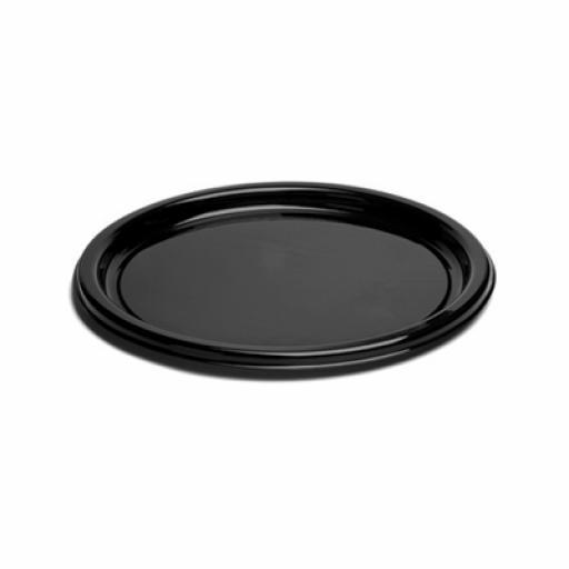 """9"""" Mozaik Black Ebony Standard Plastic Dinner Starter Plates 23cm - 25 pack"""