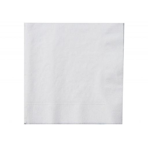 White Paper Napkins 2 Ply 25cm Cocktail 4 Fold Tissue Serviettes