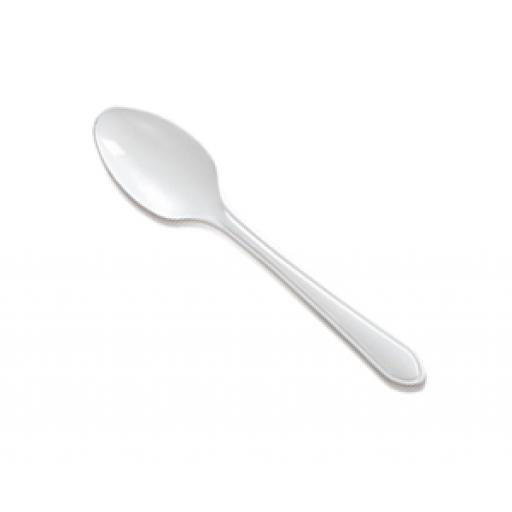 White Plastic Spoons Strong Heavy Duty Reusable Disposable Cutlery