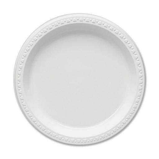 "Round 9"" White Plastic Plates - 23cm Heavy Duty Strong - AD18"