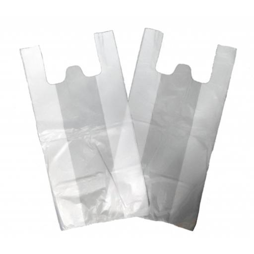 "Medium White Vest Plastic Carrier Bags 10""x15""x18"" - Jupiter"