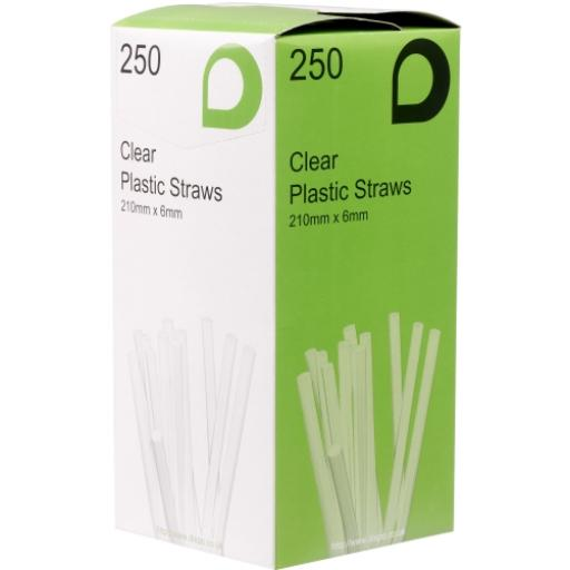 "Clear 8"" Long Jumbo Flexi Bendy Drinking Straws 210mm x 6mm"