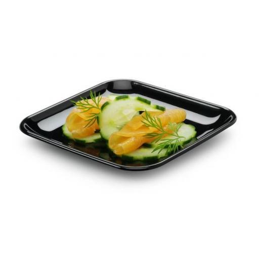 """MINI 2.5"""" Black Mozaik 6.5cm Tasting Appetiser Plates - Strong Reusable Hard Plastic"""