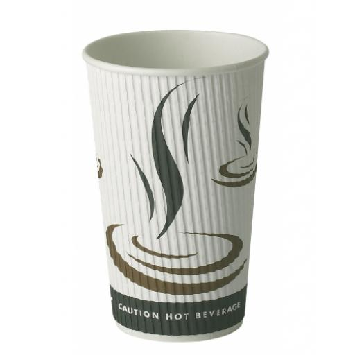 16oz Weaved Paper Coffee Cups Kraft Ripple 3 Ply Insulated For Tea Espresso Hot Drinks