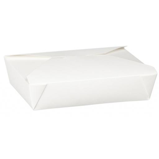 No3 White 69oz Square Paper Food Containers - Hot Rice Curry Takeaway Boxes