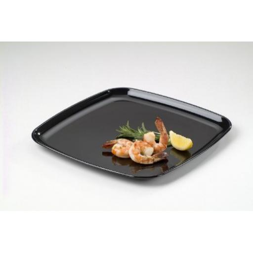 Sabert Mozaik Large Plastic Black Square Platters Trays Very Strong Reusable 40x40cm
