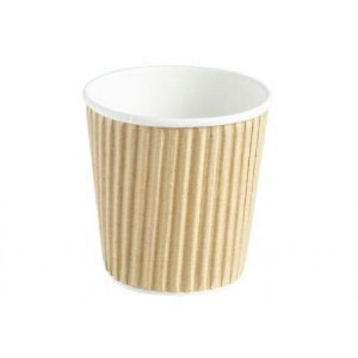 4oz Brown Paper Coffee Cups Kraft Ripple 3 Ply Insulated For Tea Espresso Hot Drinks