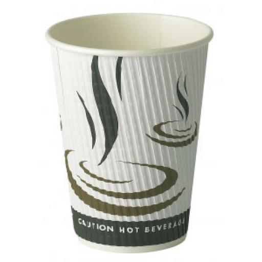 12oz Weaved Paper Coffee Cups Kraft Ripple 3 Ply Insulated For Tea Espresso Hot Drinks