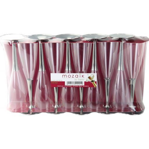100ml Sabert Mozaik Silver Stem Clear Plastic Champagne Flutes Cups Glasses - Disposable Reusable
