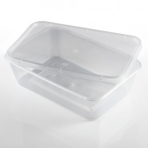 Rectangular 500ml Microwave Clear Plastic Food Containers for Freezing Takeaway Hot Cold Foods - 500cc