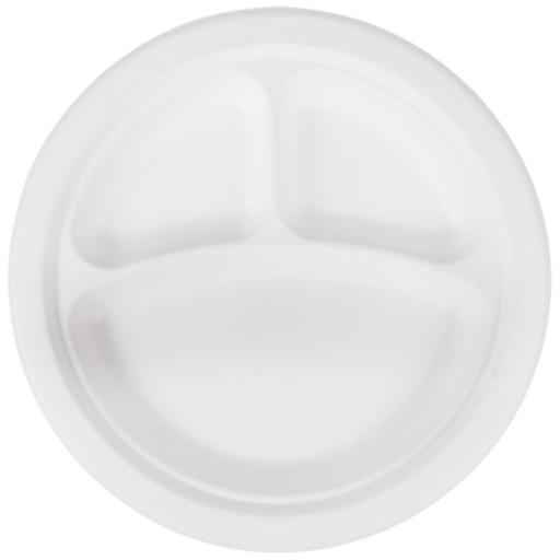 "Round 10"" 3 Section Compartment Strong White Paper Plates Biodegradable Bagasse Disposable - 260cm"