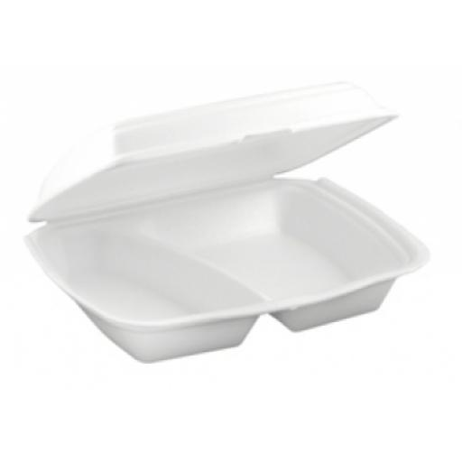 "FP2 White 10"" Meal Box 2 Compartment Section Foam Polystyrene Containers HP4/2"