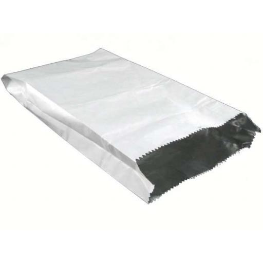 "White Paper Foil Bags 7""x9""x12"" Lined Greaseproof - For Takeaway Hot Cold Food"