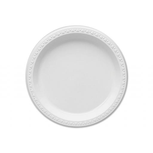 "Round 7"" White Plastic Plates - 19cm Heavy Duty Strong - AD20"
