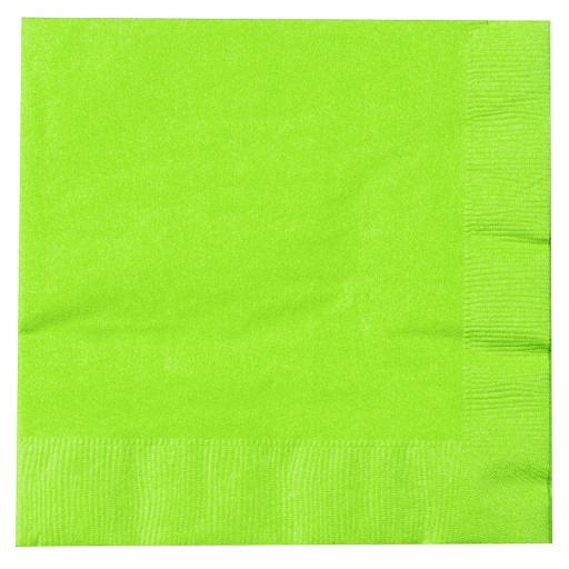 Lime Green Paper Napkins 2 Ply 33cm 4 Fold Tissue Serviettes