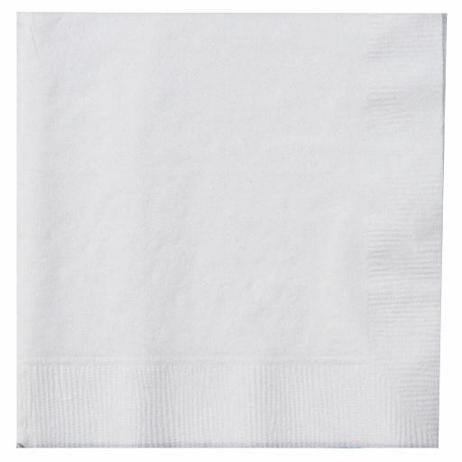 White Paper Napkins 1 Ply 33cm Economy 4 Fold Tissue Serviettes
