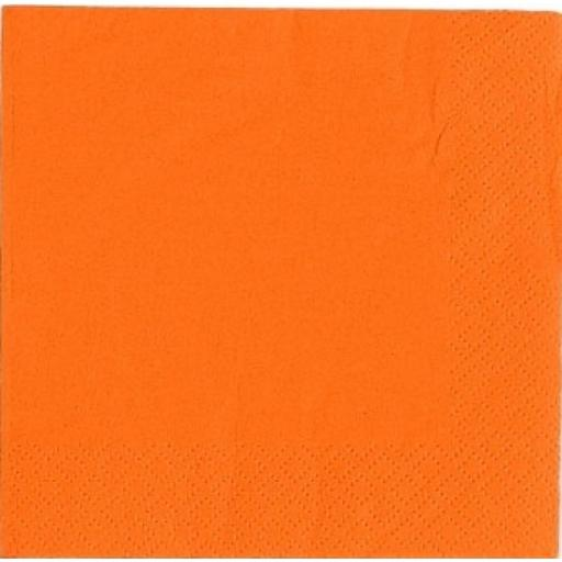 Orange Paper Napkins 2 Ply 33cm 4 Fold Tissue Serviettes