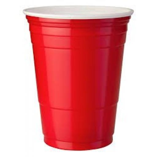 Red American Party Cups 16oz / 455ml - Disposable Plastic Ruby Red Apple Beer Pong Cold Drinks Cups