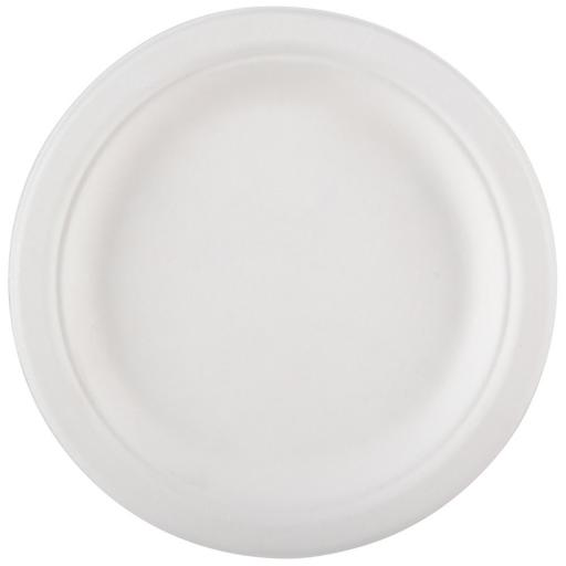 "Round 10"" Strong White Paper Plates Biodegradable Bagasse Disposable - 260cm"