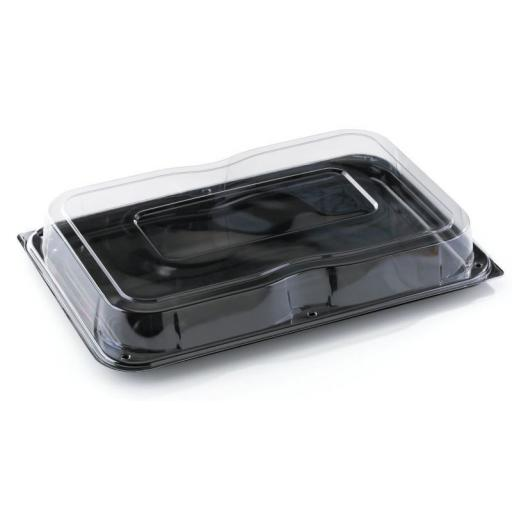 Sabert Mini Small Black Plastic Rectangle Serving Buffet Platters + Lids - 24x17cm