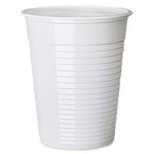 White Plastic 7oz Strong Drinking Tumbler Disposable Cups