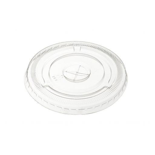 9oz Clear Flat Lids with Straw Hole For Plastic Smoothie Cups