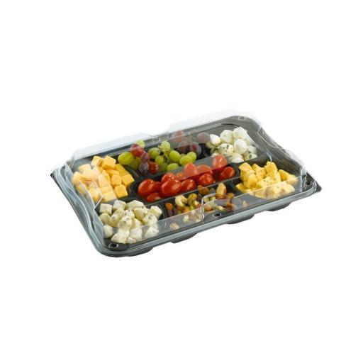 Sabert Small Black Plastic Rectangle Gourmet 7 Compartment ...