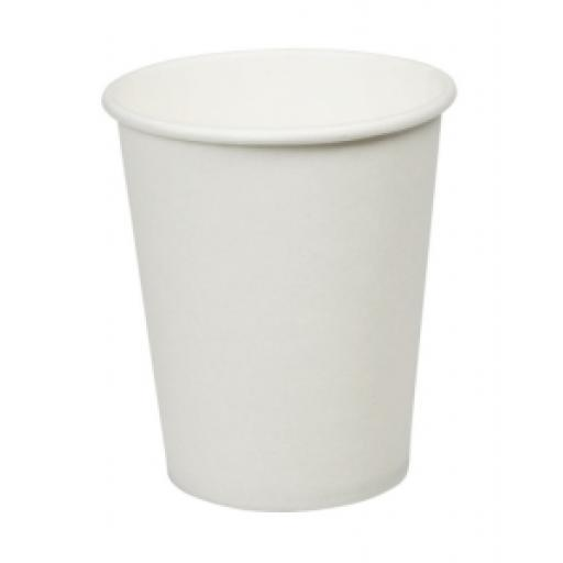 8oz White Paper Cups Single Wall Disposable Tea Coffee Cappuccino Espresso Hot Drinks