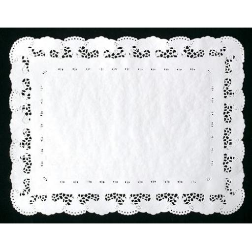 White No 2 Rectangular Doilies Doyle's Tray papers 25x36cm Lace Border