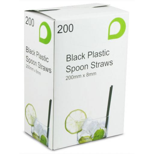 Black Spoon Drinking Straws 200mm x 8mm - Smoothies, Slushies, Milkshakes and Fruity Cocktails