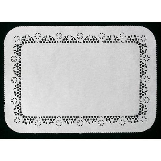White No 2 Rectangular Traypapers 25x35cm Lace Border